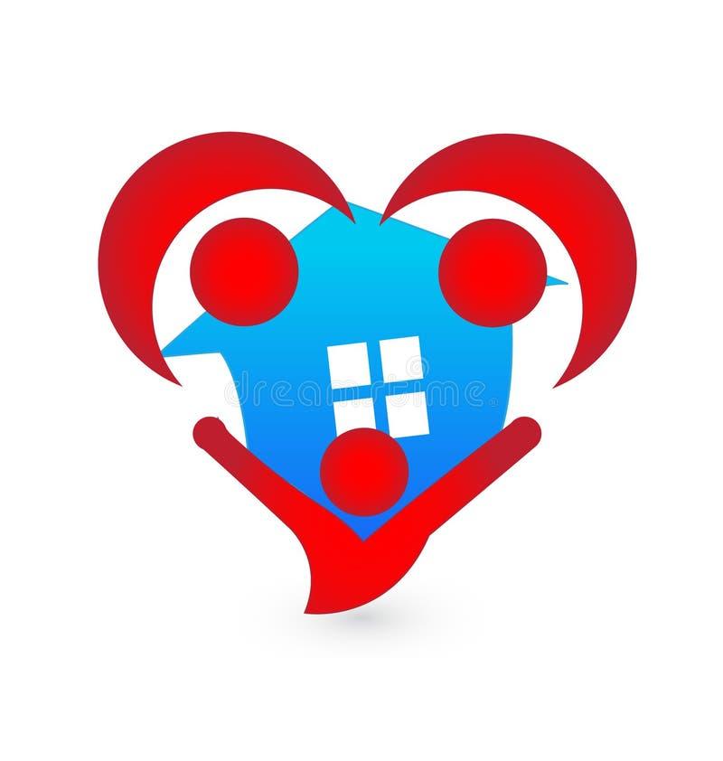 Агенты дома и людей в сердце формируют вектор значка иллюстрация вектора