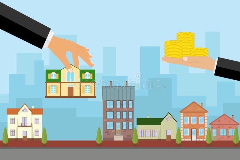 Агент продает дом в обмен на деньги, рука держит дом и другое держит деньги иллюстрация вектора