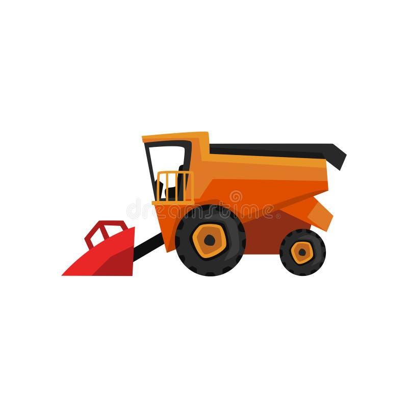 Аграрная жатка, иллюстрация вектора сельско-хозяйственной техники зернокомбайна на белой предпосылке бесплатная иллюстрация