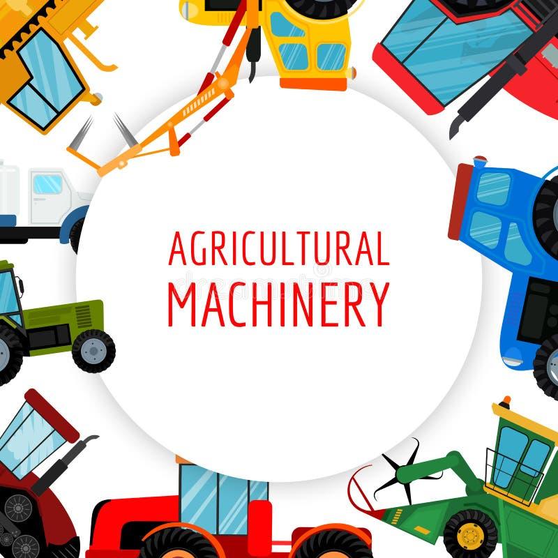 Аграрная иллюстрация вектора кораблей и машин фермы Тракторы, жатки, совмещают Дело земледелия иллюстрация штока