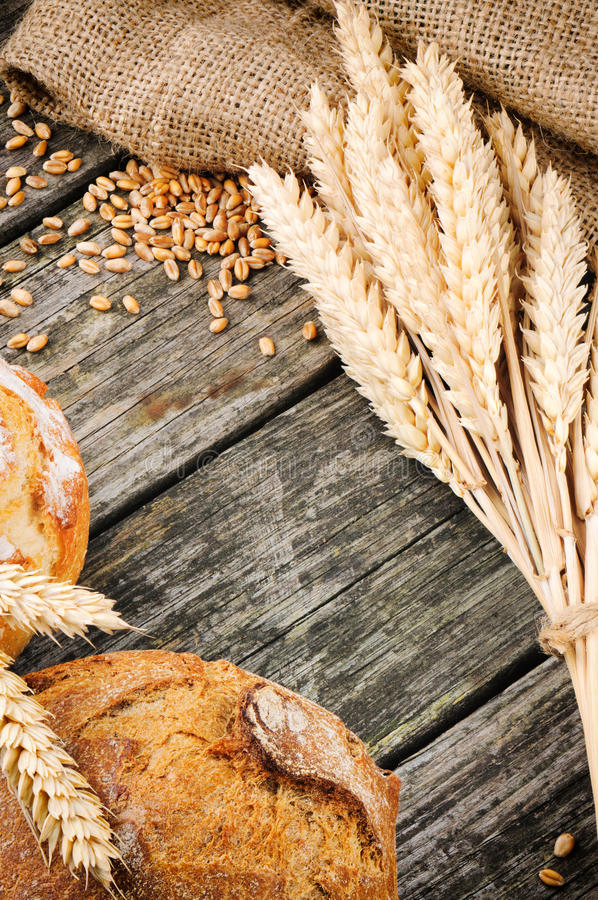 Аграрная рамка с хлебом и пшеницей стоковые фотографии rf