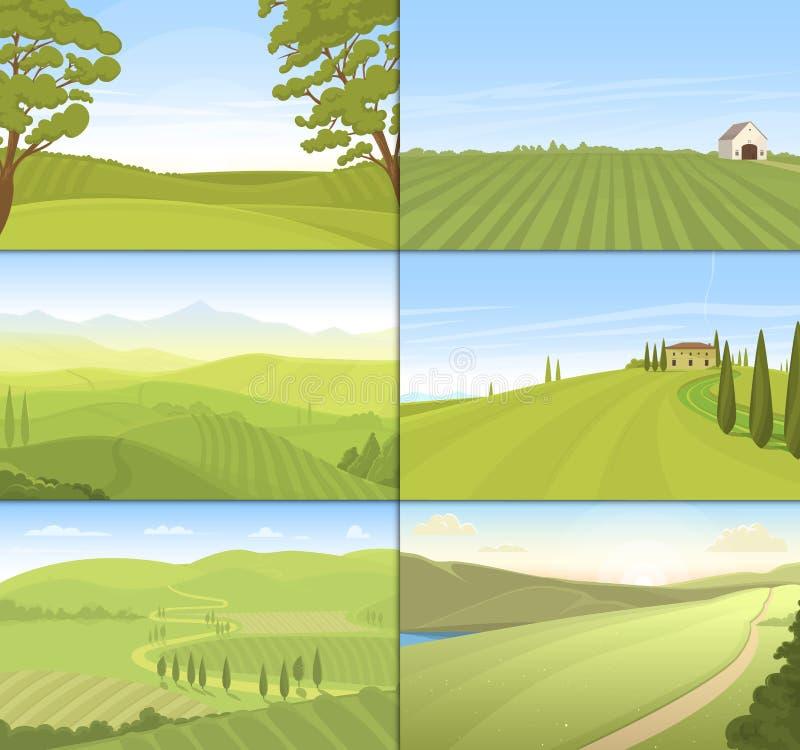 Аграрный вектор поля фермы установленный иллюстрация вектора