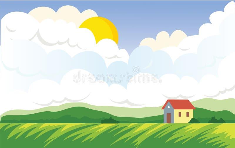 Аграрный ландшафт с домом ` s фермера бесплатная иллюстрация