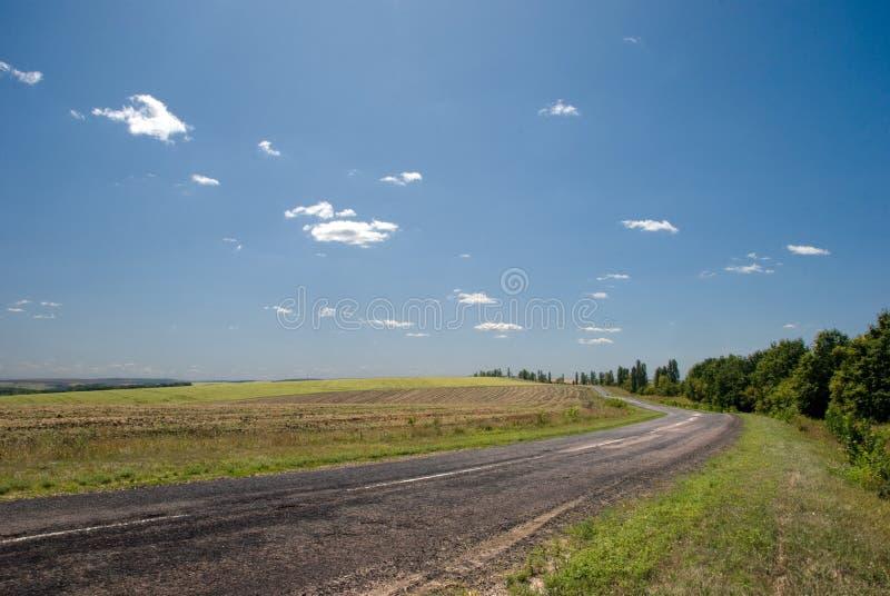 аграрный пустой взгляд дороги полей стоковое изображение