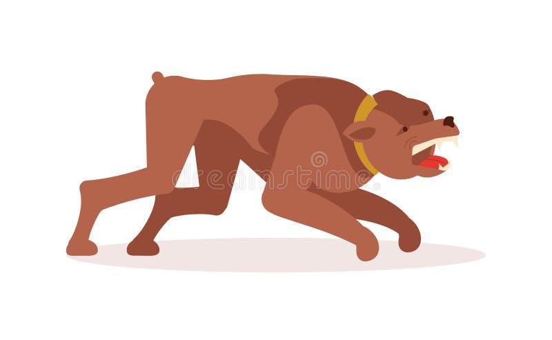 Агрессивное опасное нападение собаки иллюстрация вектора