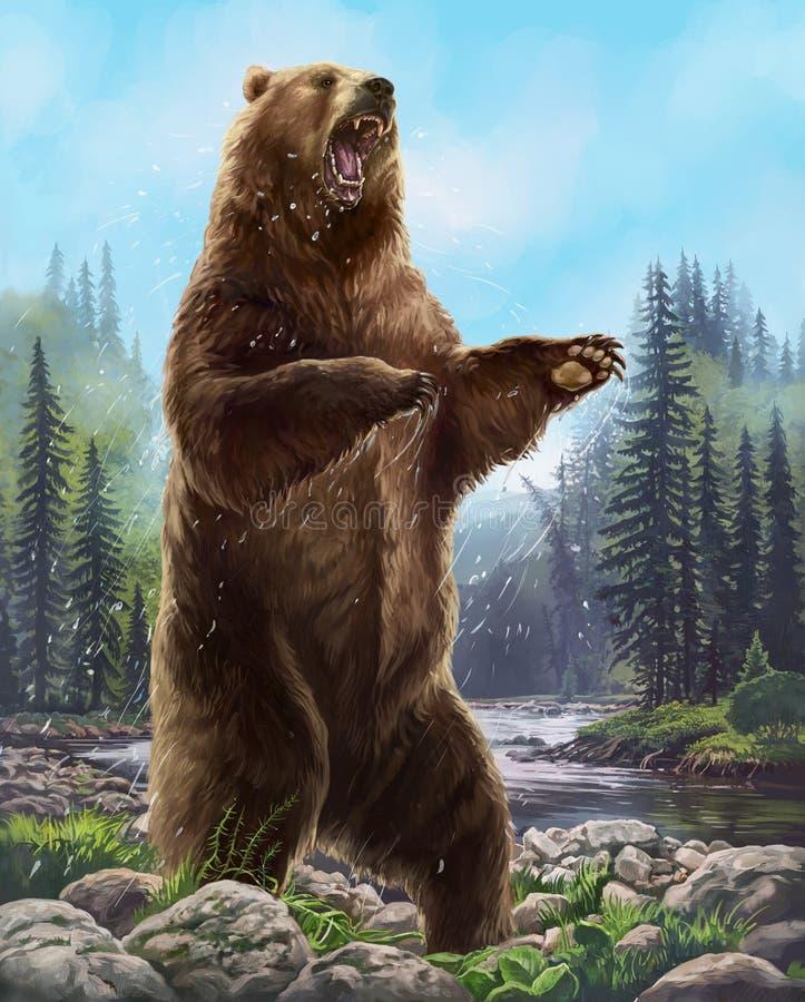 Агрессивный медведь иллюстрация вектора
