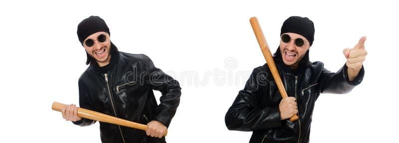 Агрессивный человек с бейсбольной битой на белом стоковое фото rf
