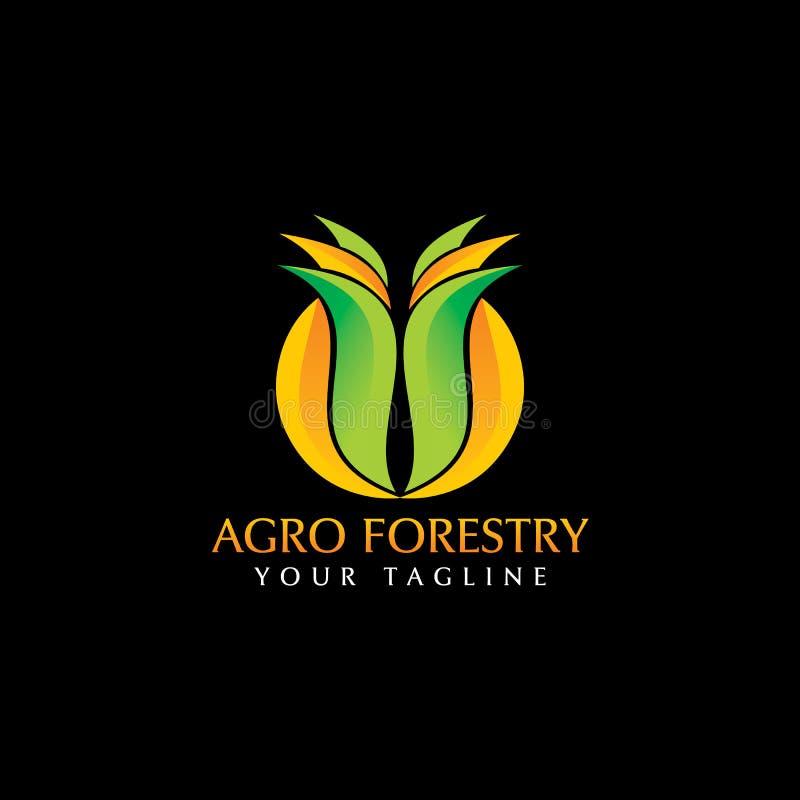 Агро воодушевленность дизайна логотипа лесохозяйства бесплатная иллюстрация