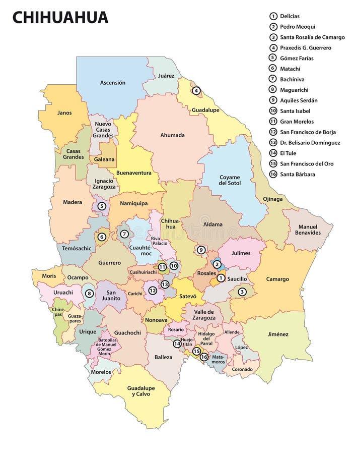 Административная карта мексиканского государства чихуахуа иллюстрация штока