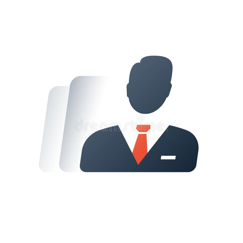 Административное управление, бизнесмены, индивидуальный предприниматель, агент компании, концепция законного тела, начальник отде иллюстрация штока