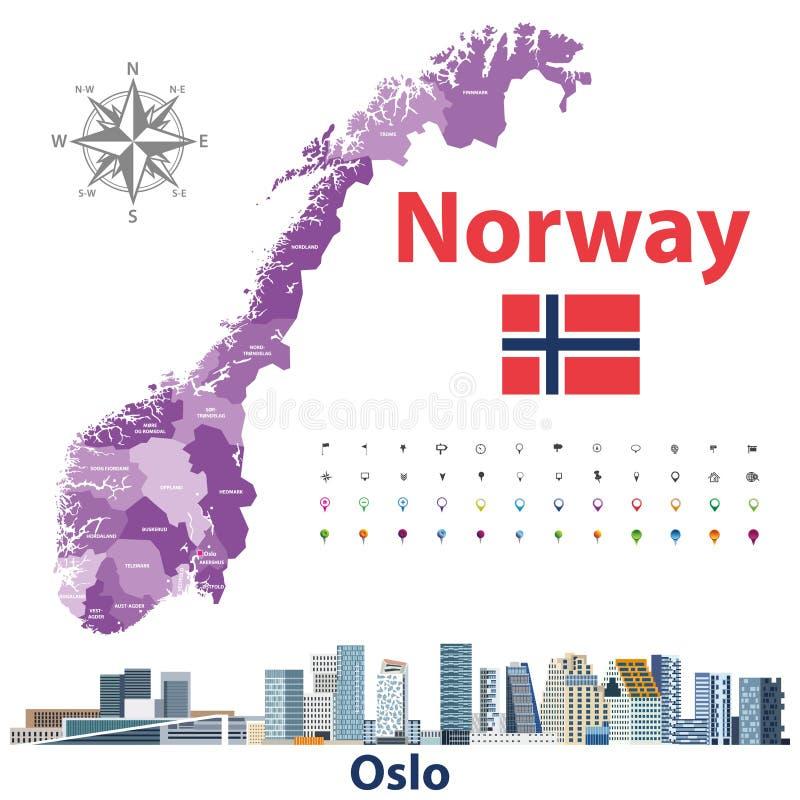 Административные округа Норвегии составляют карту и городской пейзаж Осло Значки положения и навигации r бесплатная иллюстрация