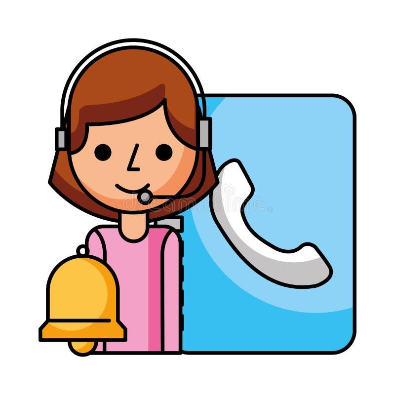 Адресная книг и колокол девушки центра телефонного обслуживания иллюстрация вектора