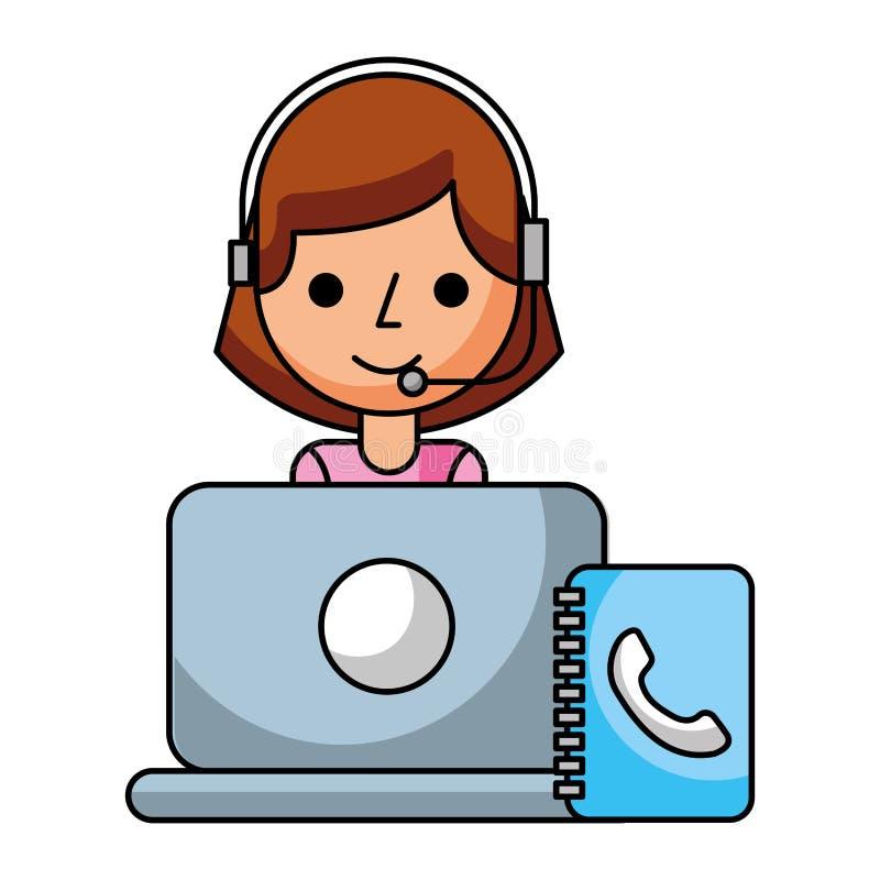 Адресная книг lapopt девушки центра телефонного обслуживания бесплатная иллюстрация
