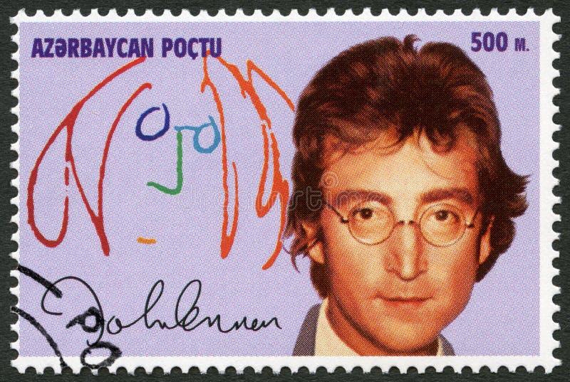 АЗЕРБАЙДЖАН - 1995: выставки Джон Winston Ono Lennon (1940-1980) стоковая фотография