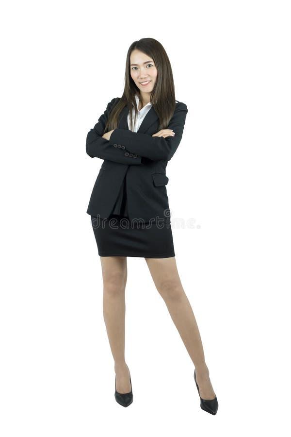 Азиатская бизнес-леди стоя полностью усмехаться тела стоковая фотография