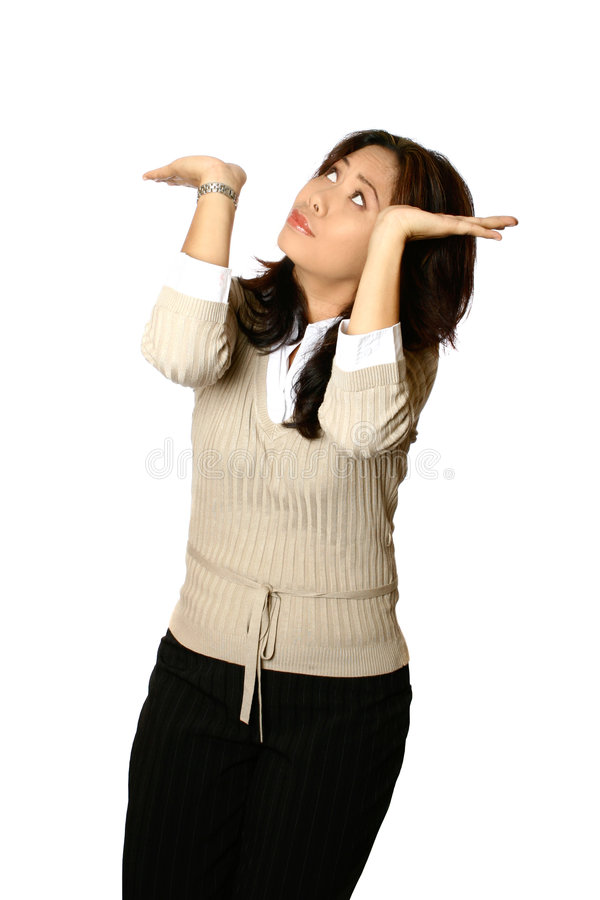 азиатская вниз нажатая женщина стоковое изображение rf