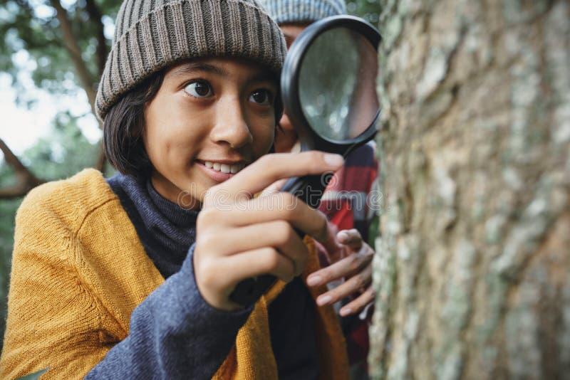Азиатская девочка, осматривающая дерево с помощью увеличительного стекла, а его мать стояла за ним утром стоковые изображения