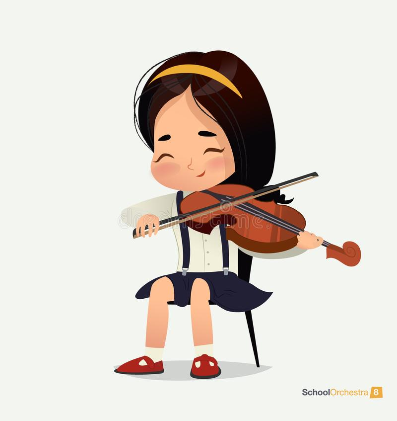 Азиатская девушка в голубой юбке сидит на скрипке игры стула бесплатная иллюстрация