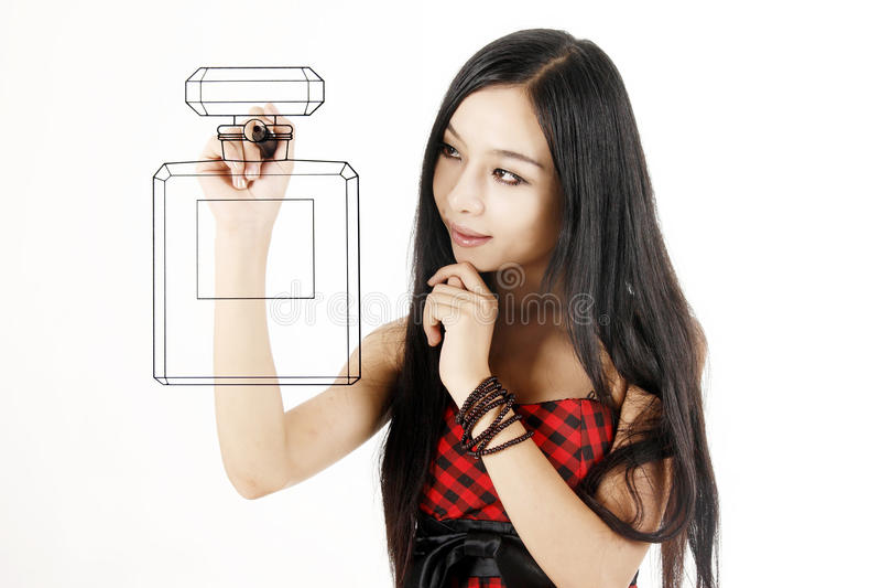 азиатская девушка чертежа стоковая фотография rf
