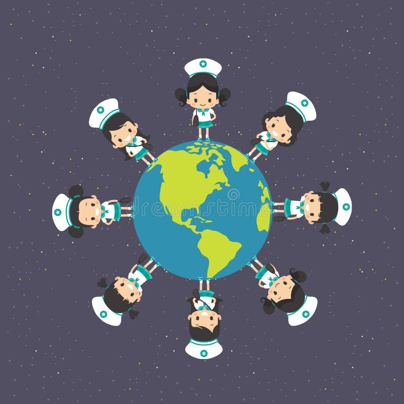 Азиатская девушка вокруг земли иллюстрация штока