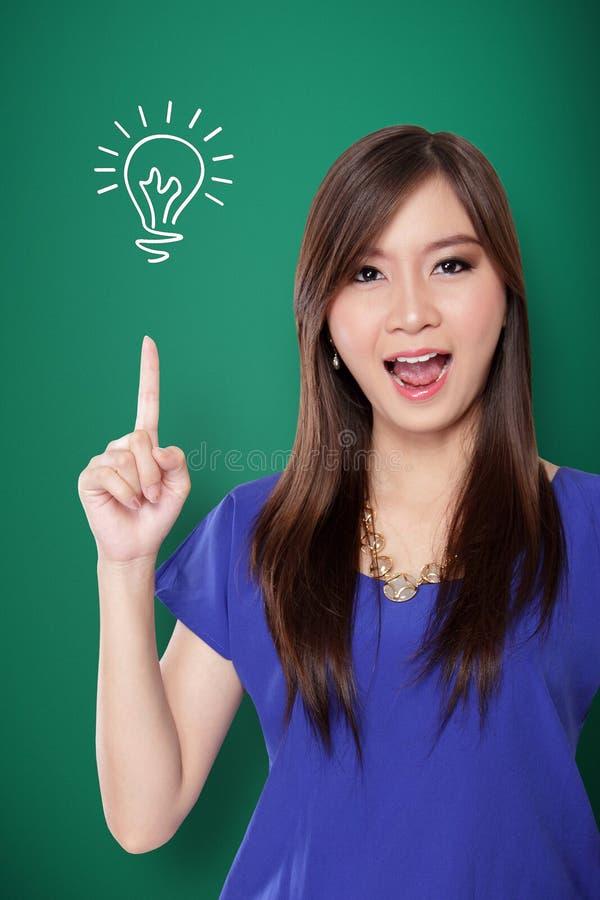 Азиатская девушка имея отличную идею! стоковое изображение rf