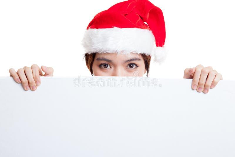 Download Азиатская девушка Санта Клауса рождества с пустым знаком Стоковое Изображение - изображение насчитывающей двухсторонн, жизнерадостно: 81812293
