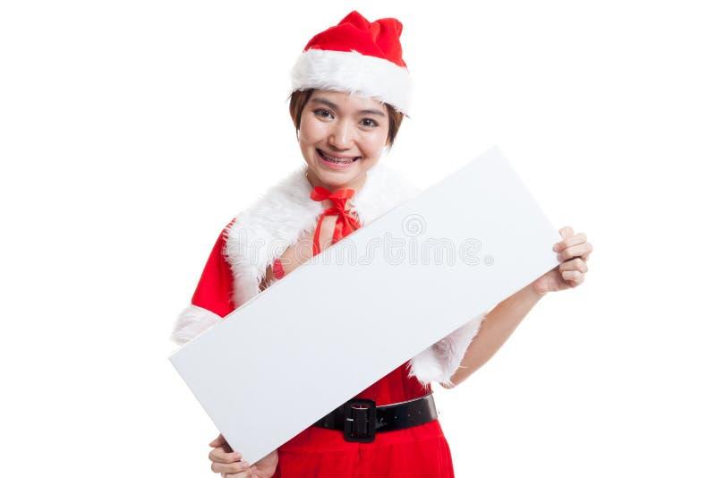 Download Азиатская девушка Санта Клауса рождества с пустым знаком Стоковое Изображение - изображение насчитывающей знамена, плакат: 81812295