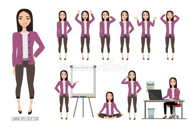Азиатская женщина в костюме офиса Комплект эмоций и жестов к молодой азиатской женщине иллюстрация штока