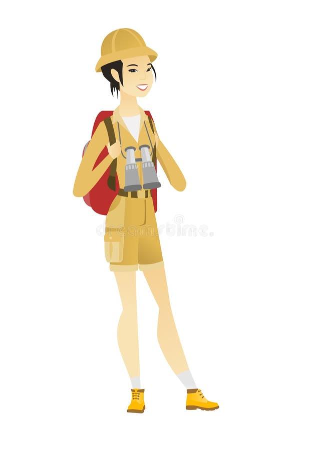 Азиатская женщина путешественника с рюкзаком и биноклями иллюстрация штока