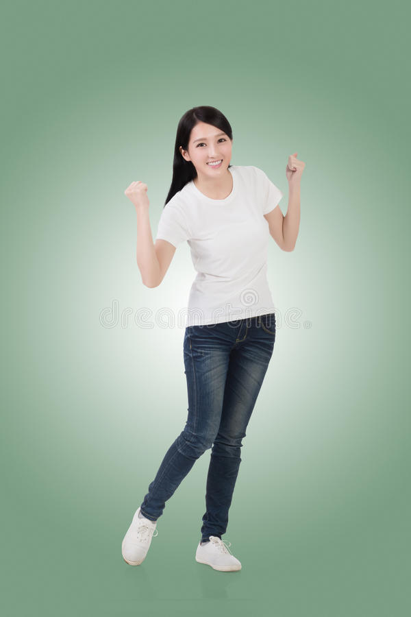 азиатская жизнерадостная женщина стоковое изображение rf
