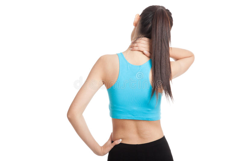 Азиатская здоровая девушка получила боль и боль в спине шеи стоковое фото