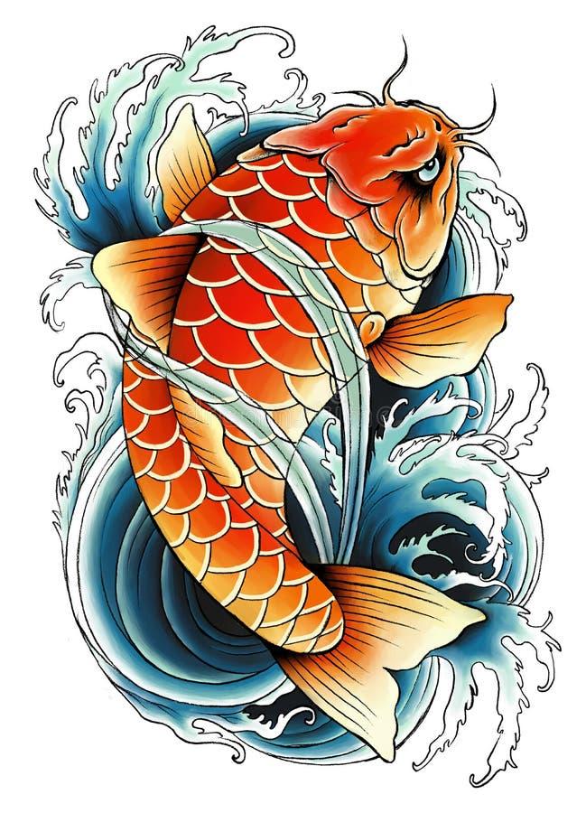 Азиатская картина карпа иллюстрация штока