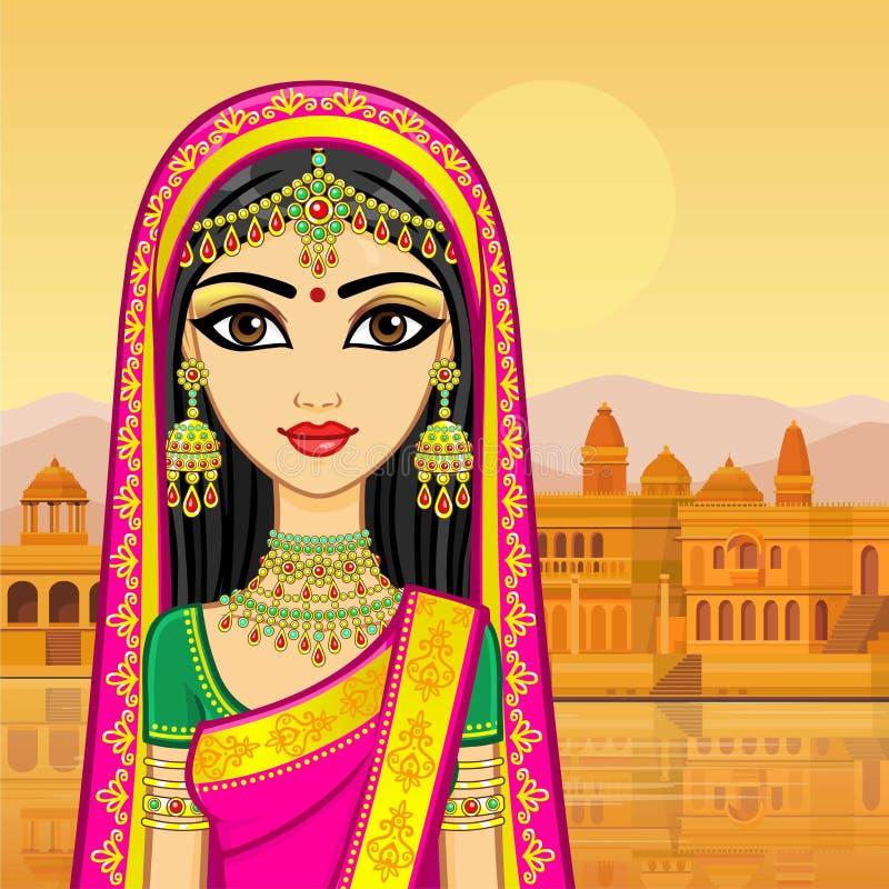 азиатская красотка Портрет анимации молодой индийской девушки в традиционных одеждах иллюстрация штока