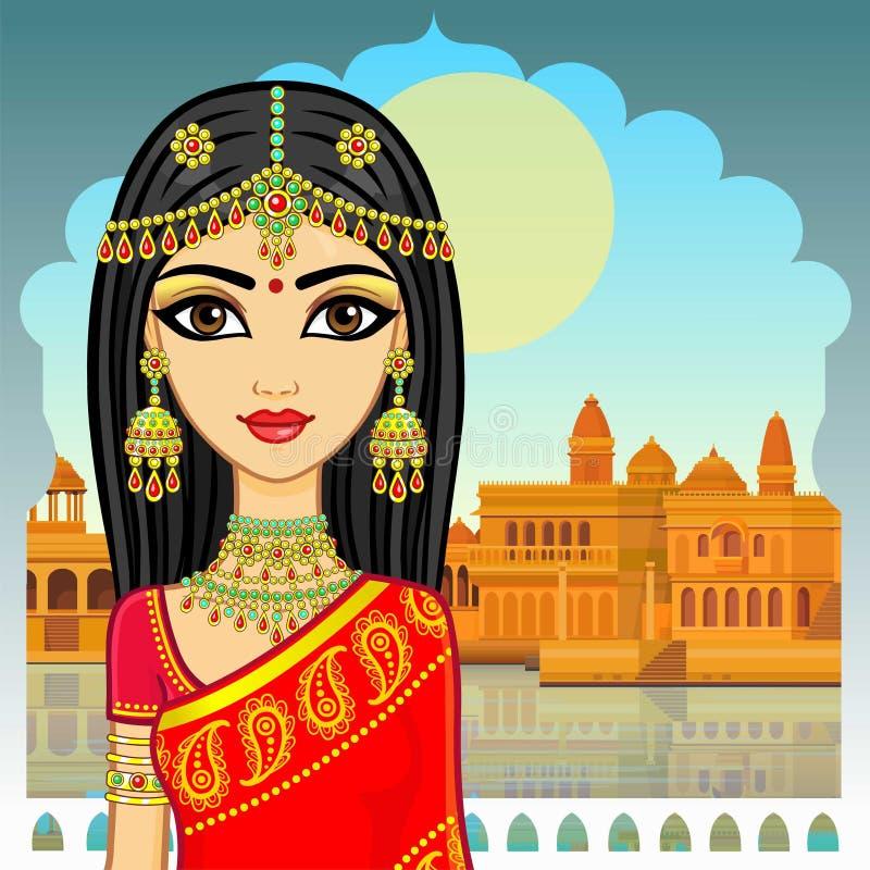 азиатская красотка Портрет анимации молодой индийской девушки в традиционных одеждах бесплатная иллюстрация