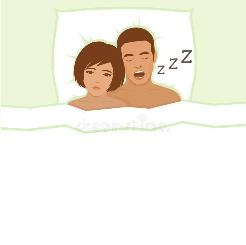 азиатская кровать может кавказский человек ушей заволакивания пар домой межрасовый люди шумят не женщины женщины храпа сна подушк иллюстрация штока