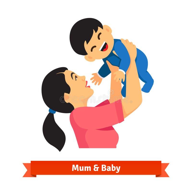 Азиатская мама задерживая ее младенца в руках наверху иллюстрация вектора
