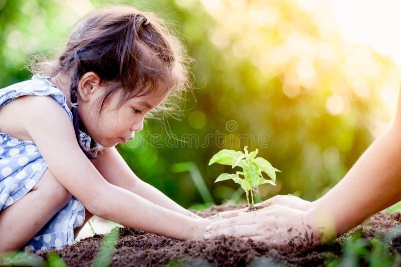 Азиатская маленькая девочка и родитель засаживая молодое дерево на черной почве стоковое фото rf