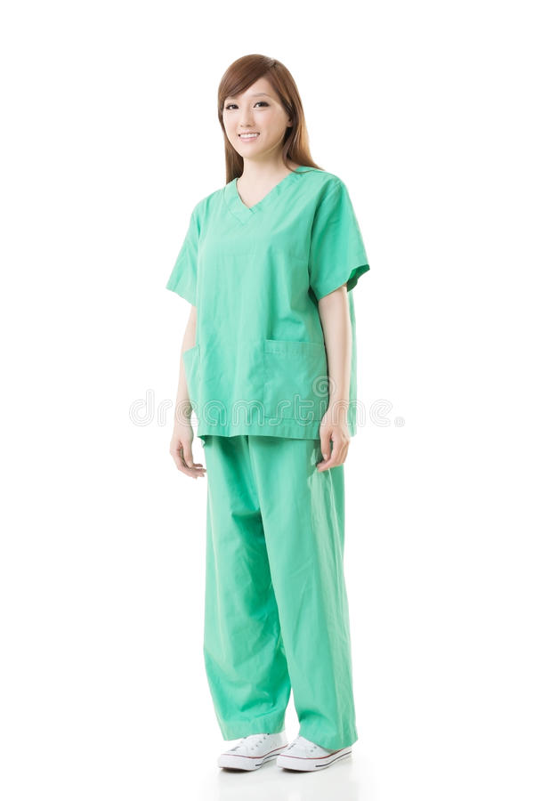 Азиатская носка женщины доктора мантия изоляции или мантия деятельности стоковые фото
