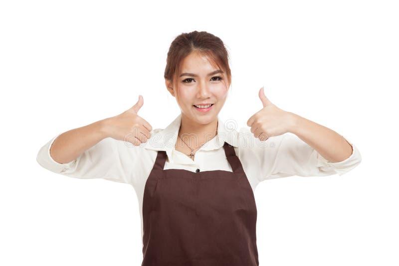 Азиатская официантка в больших пальцах руки рисбермы 2 вверх стоковое изображение rf