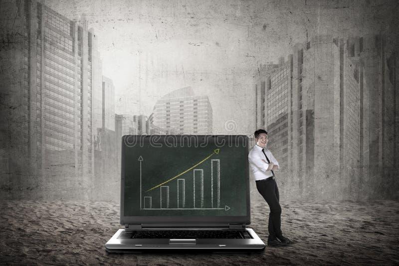 Азиатская склонность бизнесмена на большой компьтер-книжке стоковое фото