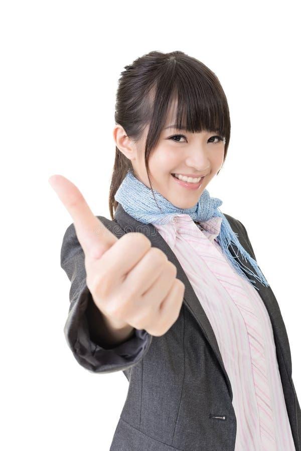 Азиатские большие пальцы руки бизнес-леди вверх стоковые фотографии rf
