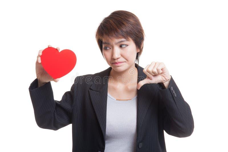 Download Азиатские большие пальцы руки бизнес-леди вниз с красным сердцем Стоковое Фото - изображение насчитывающей дело, красивейшее: 81812046