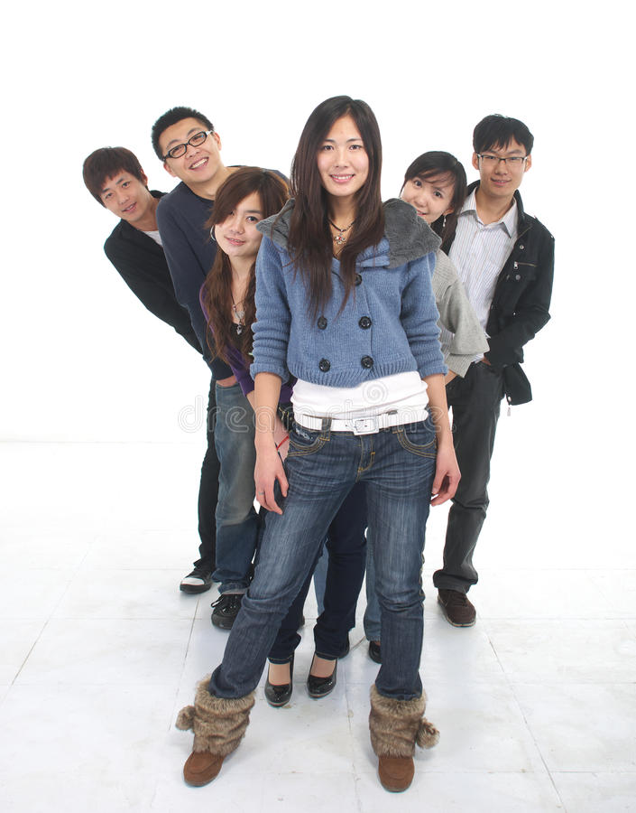 азиатские детеныши группы стоковые изображения