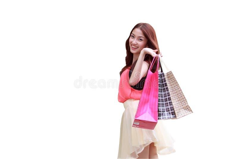 Азиатские девушки счастливы ходить по магазинам стоковые изображения