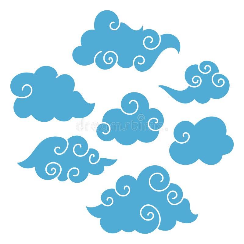 Азиатские облака иллюстрация штока