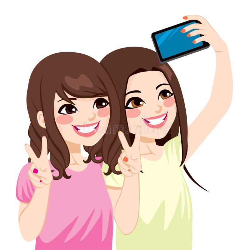 Азиатские друзья Selfie иллюстрация вектора