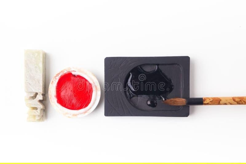 Азиатские традиционные ручка и чернила щетки для каллиграфии стоковое изображение
