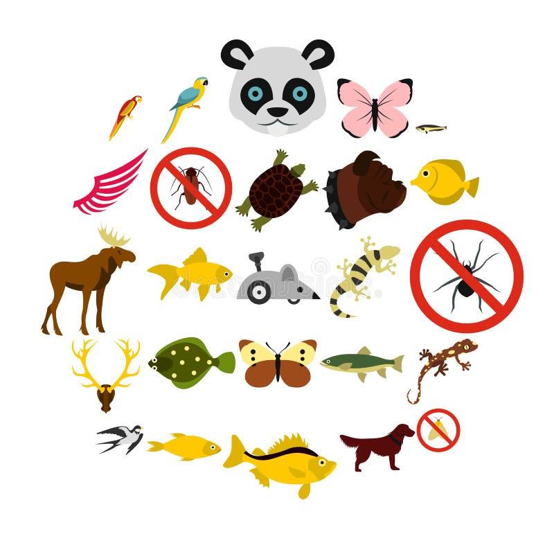 Азиатские установленные значки, плоский стиль животных иллюстрация штока