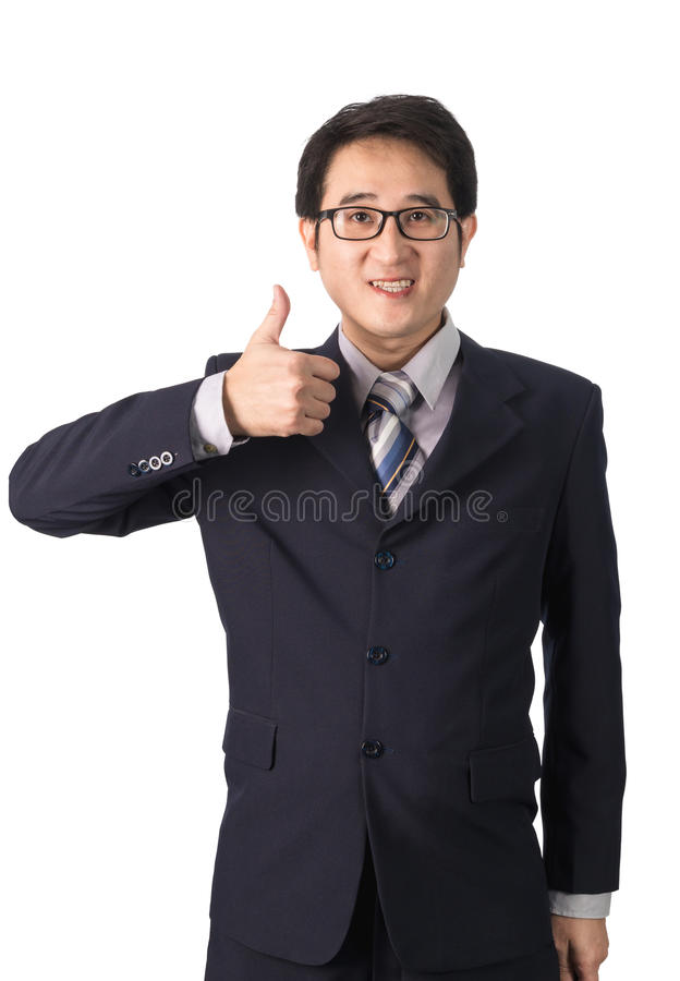 Азиатский бизнесмен делая большие пальцы руки вверх с усмехаться, изолированный на w стоковое изображение rf