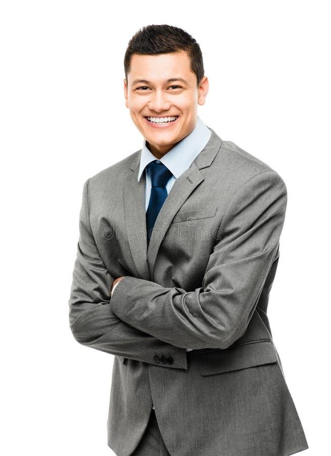 Азиатский бизнесмен подготовляет сложенный усмехаться стоковая фотография